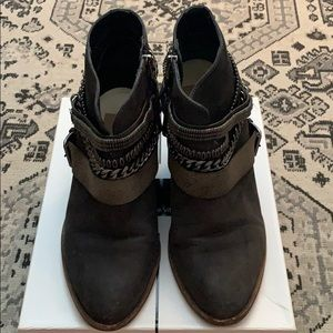 Dolce Vita black booties with silver accents